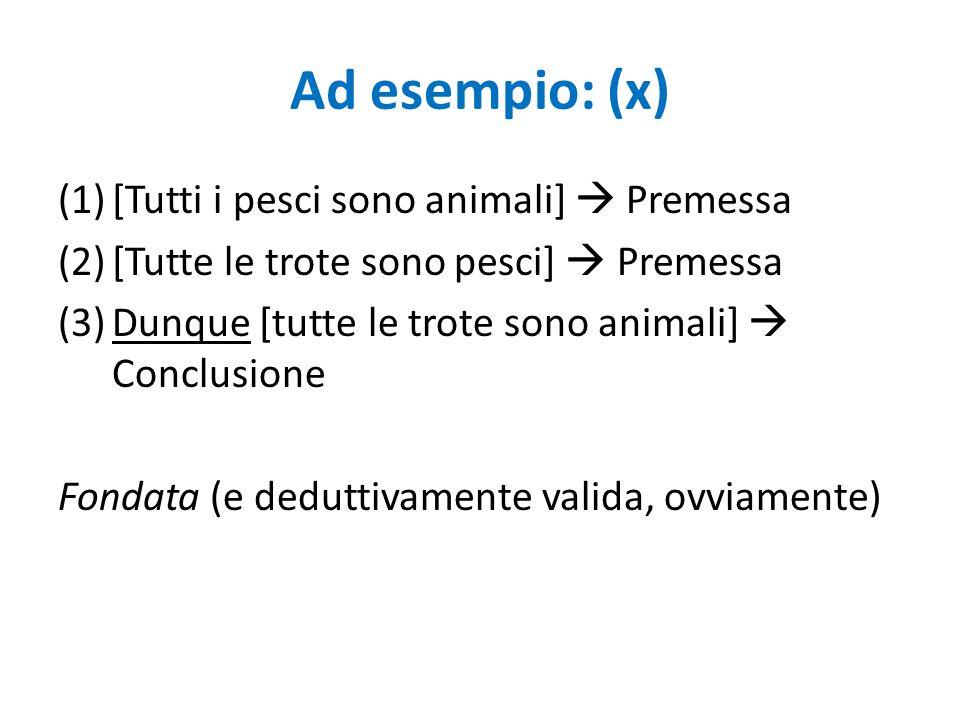 Ad esempio: (x) [Tutti i pesci sono animali]  Premessa